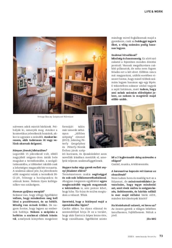 Beauty Forum-interjú Szakonyi Eszterrel